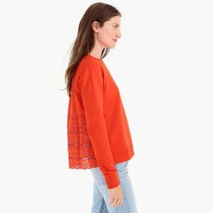 J. Crew Orange Back Eyelet Sweatshirt Size: Medium